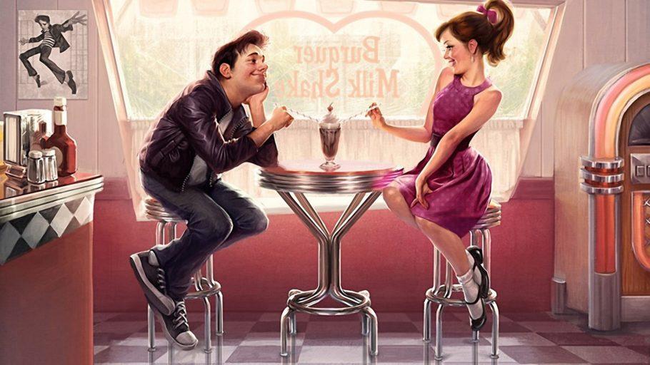 парень и девушка коктейль рисунок