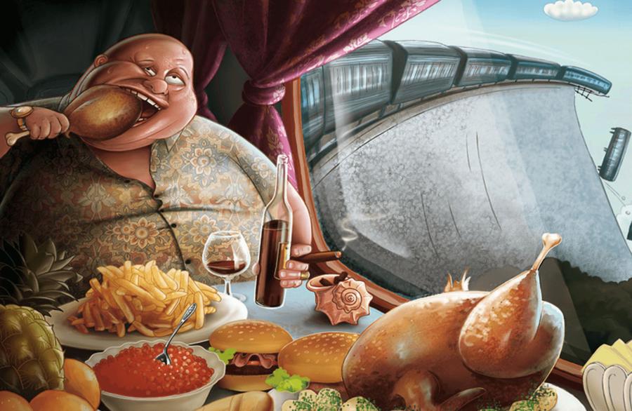 Мужик ест мясо в вагоне поезда который упадет с моста