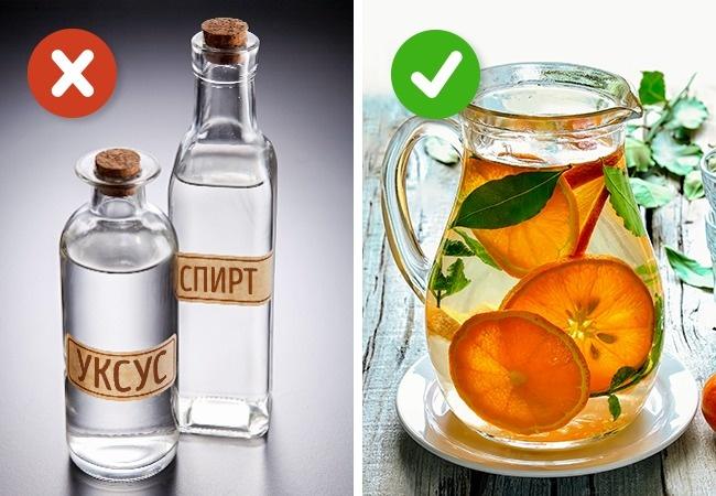 Растирание алкоголем или уксусом