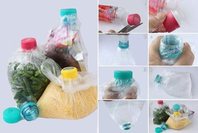 Место хранения сыпучих продуктов из пластиковой бутылки