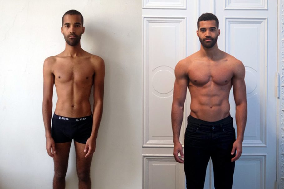 мужчина до и после тренировок