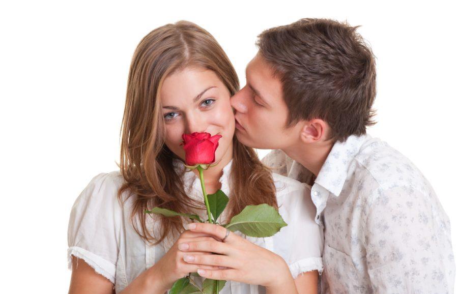 мужчина и женщина с розой
