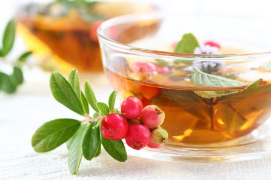 брусника и чай
