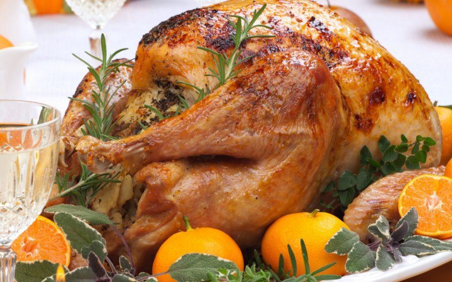 Запеченная курица с мандаринами