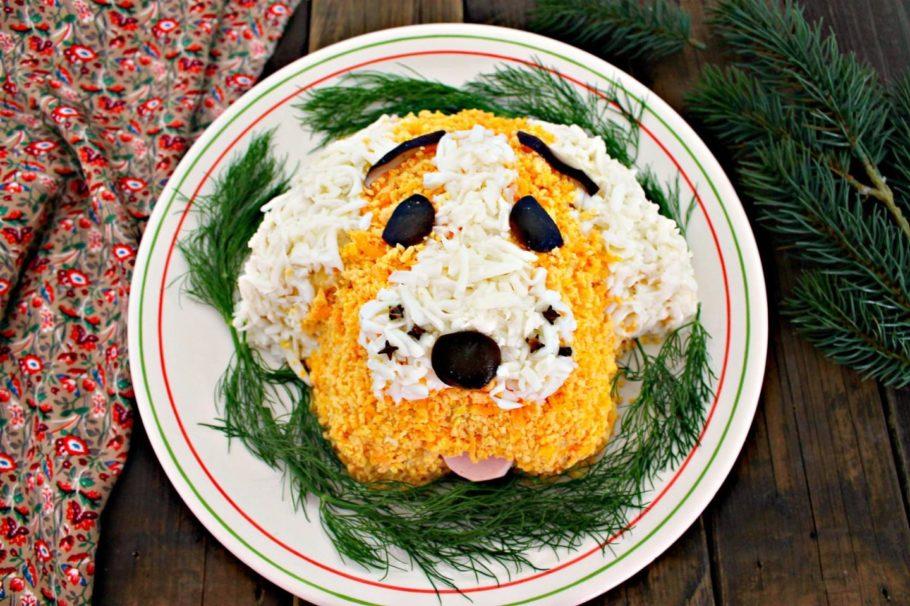 салат в виде собачьей морды