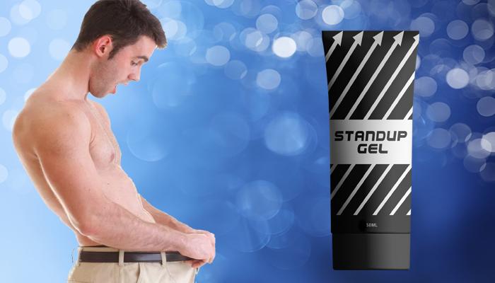 мужчина оттягивает штаны и тюбик stand up gel