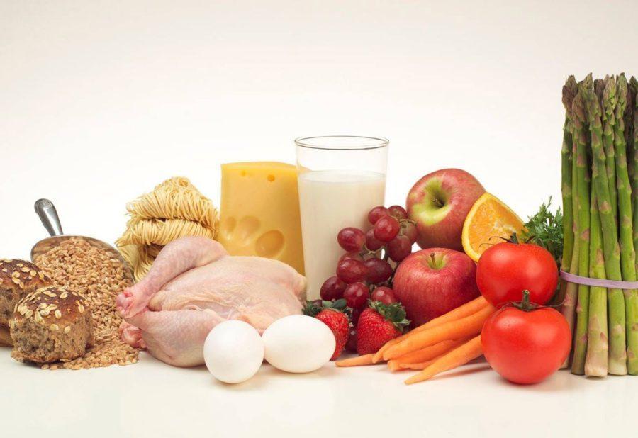 курица, яйца, овощи и фрукты