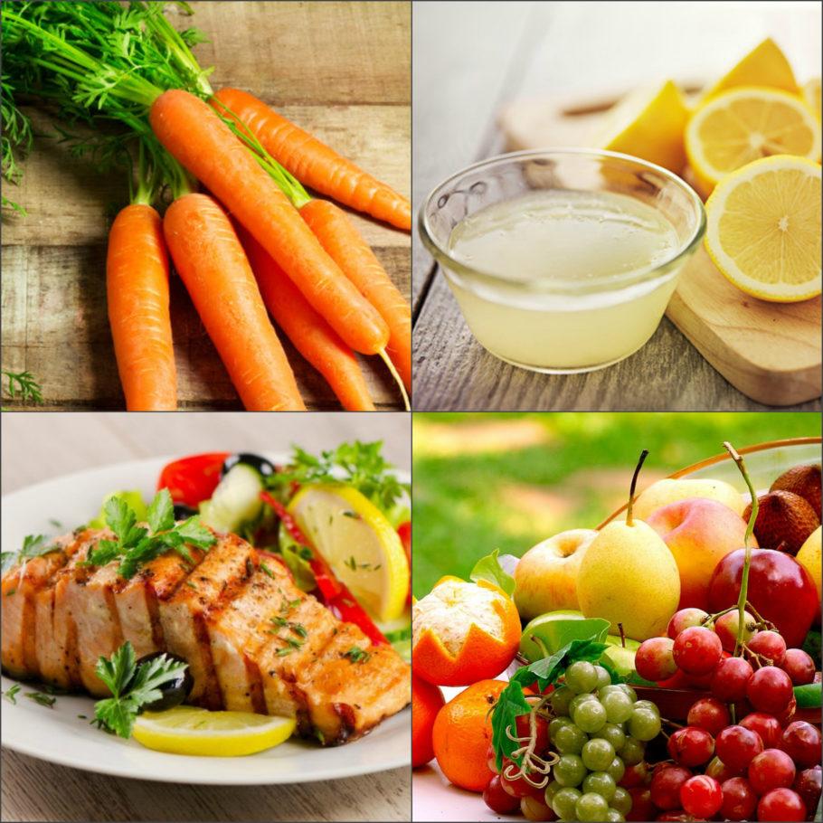 ягоды, фрукты, рыба, лимон и морковь