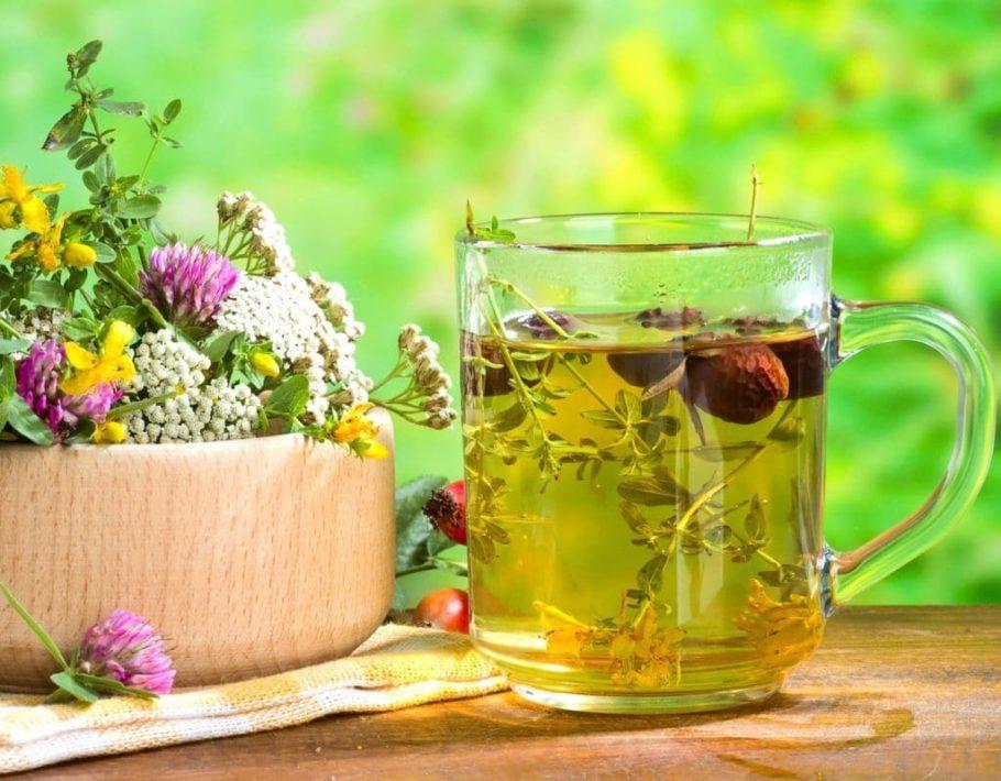 Отвар лекарственных трав в чашке и травы в вазе