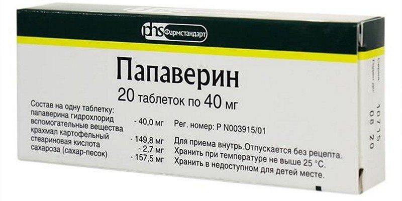 упаковка таблеток Папаверин