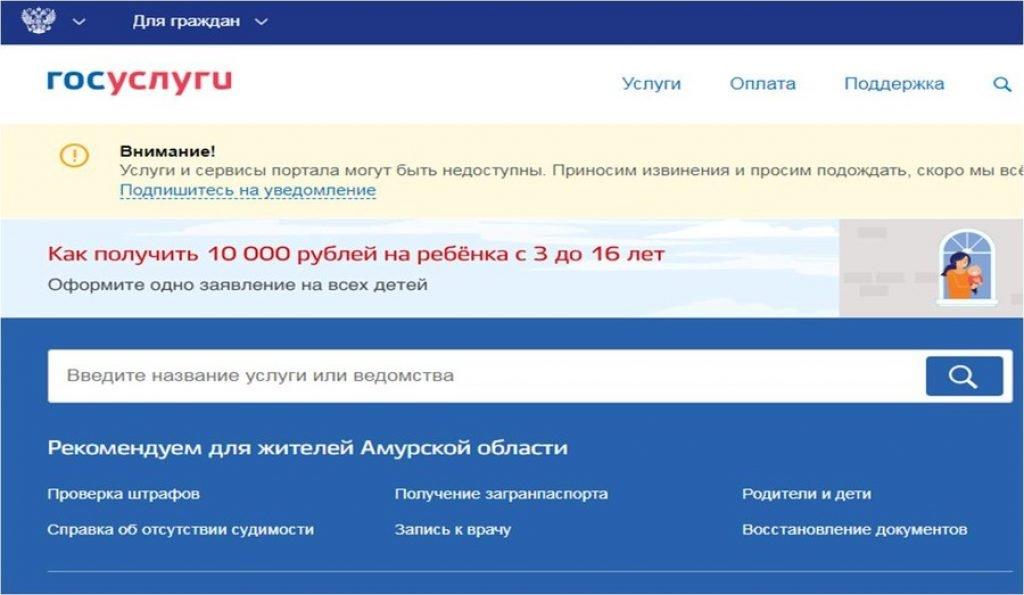 Оформление единовременного детского пособия в 10 тысяч рублей через «Госуслуги»