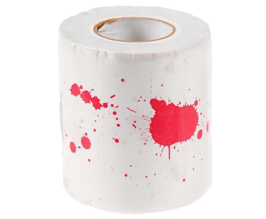 рулон туалетной бумаги с брызгами крови