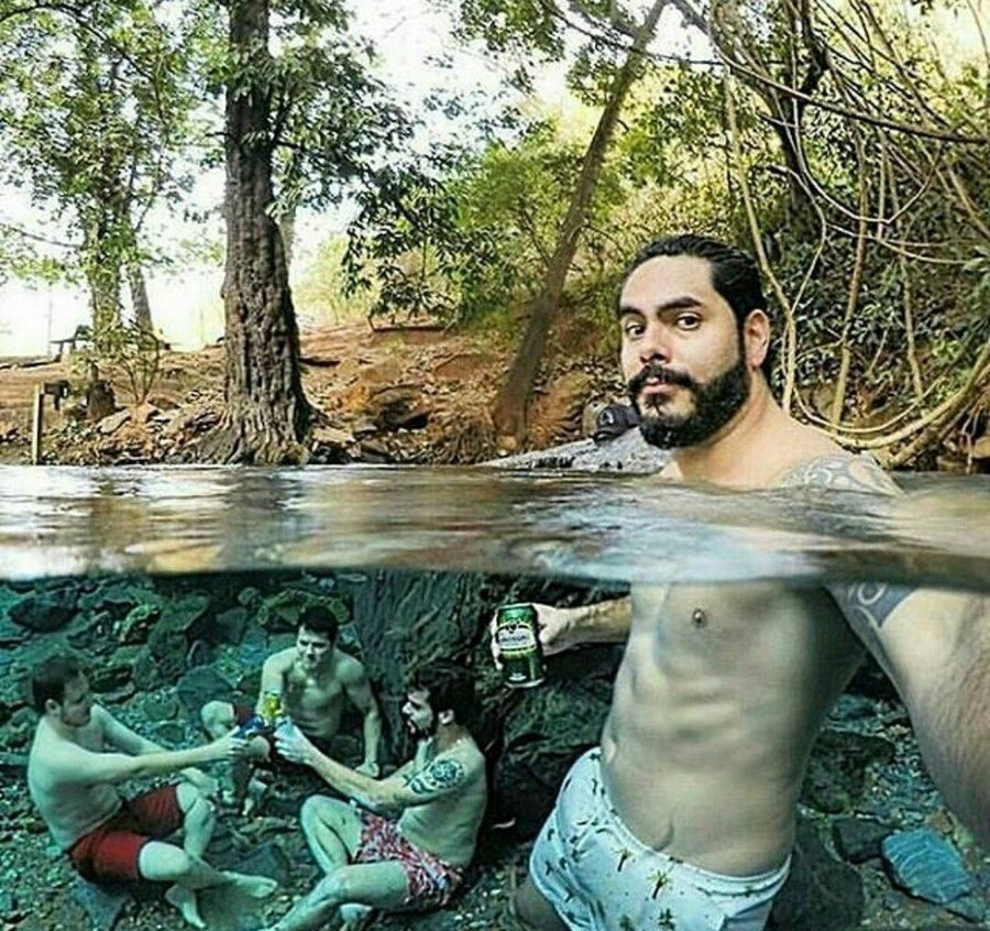 селфи: пить пиво под водой