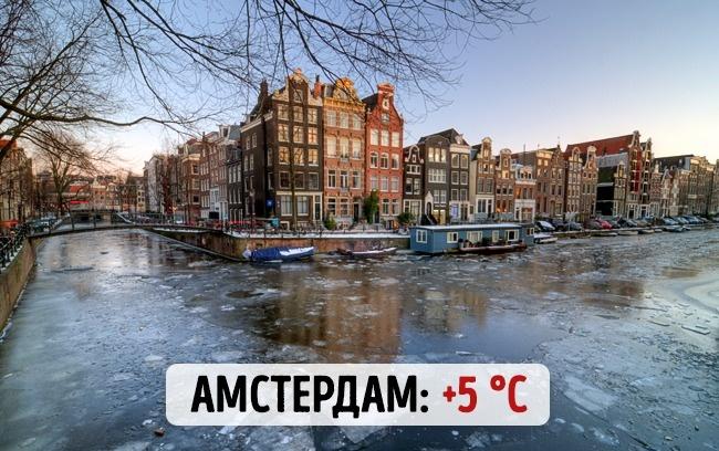 Голландский Амстердам: +5 градусов по Цельсию