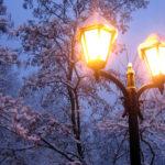 Фонарь в зимнем парке
