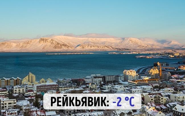 Исландский Рейкъявик: -2 градуса по Цельсию