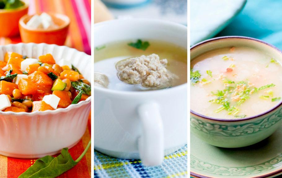 Салат, суп с фрикадельками.