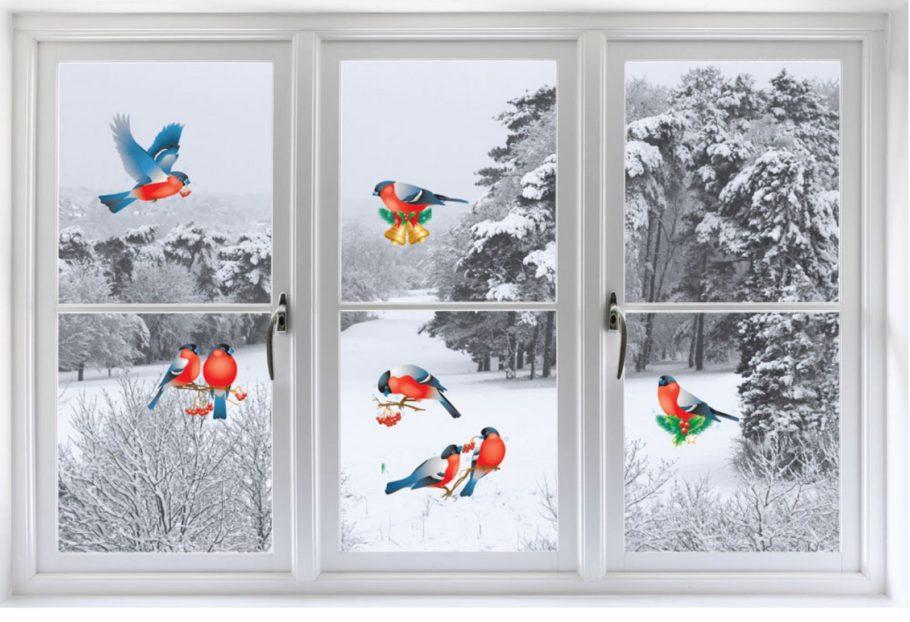 Украшение: птички на стекле