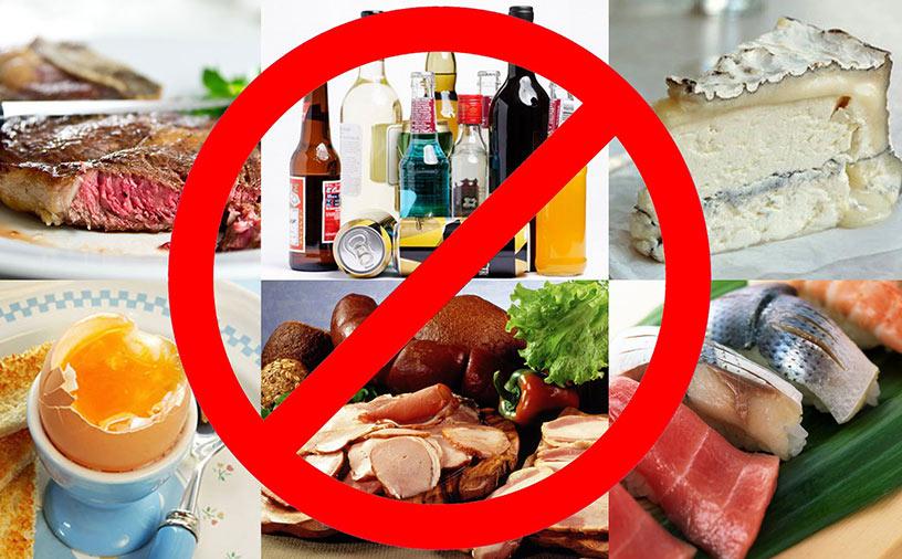 Нельзя увлекаться такими продуктами, как сдоба и сладкая выпечка, грибы и субпродукты