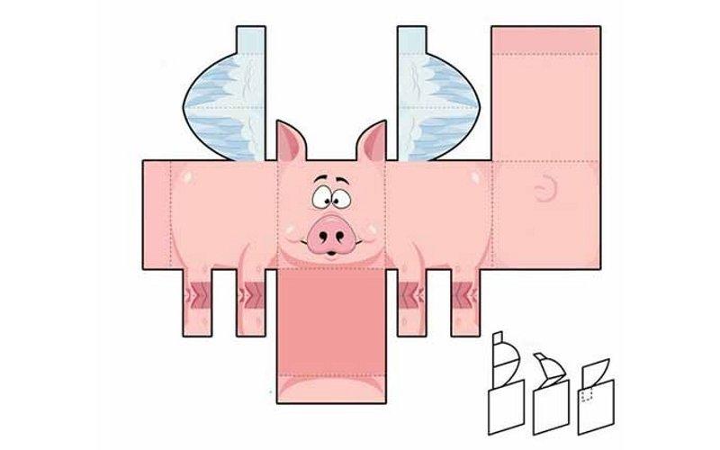 Выкройка коробочки в виде свинки с крылышками